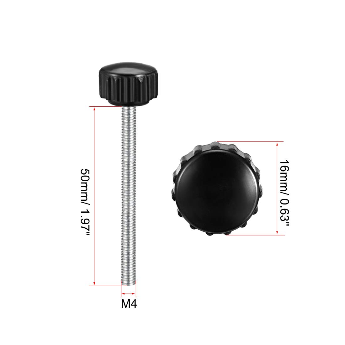 uxcell M5 x 15mm Male Thread Knurled Clamping Knobs Grip Thumb Screw on Type Round Head 10 Pcs
