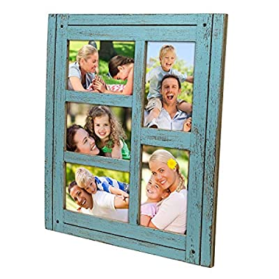 Collage Picture Frames from Rustic Distressed Wood: Holds Five 4x6 Photos: Ready to Hang or use Tabletop. Shabby Chic, Driftwood, Barnwood, Farmhouse, Reclaimed Wood Picture Frame Collage