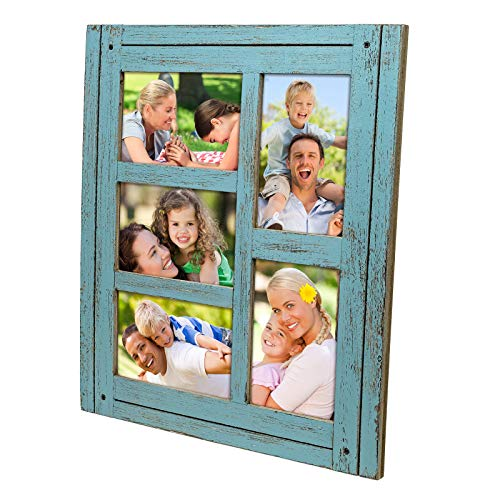 Collage Picture Frames from Rustic Distressed Wood: Holds Five 4x6 Photos: Ready to Hang or use Tabletop. Shabby Chic, Driftwood, Barnwood, Farmhouse, Reclaimed Wood Picture Frame Collage (Blue) (Frame Multi Teal Photo)