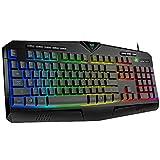 PICTEK RGB Gaming Keyboard USB Wired Keyboard, Crater Architecture Backlit Computer Keyboard with 8 Independent Multimedia Keys, 25 Keys Anti-ghosting, Splash-Proof, Ideal for PC/Mac Game, Black