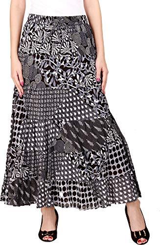 COTTON BREEZE Women's Cotton Patch Print Maxi Skirt M Grey