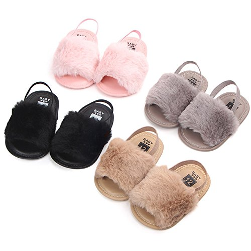 HONGTEYA Baby Girls Sandals Soft Soled Faux Fur Infant Toddler Summer Baby Moccasins Shoes Slippers