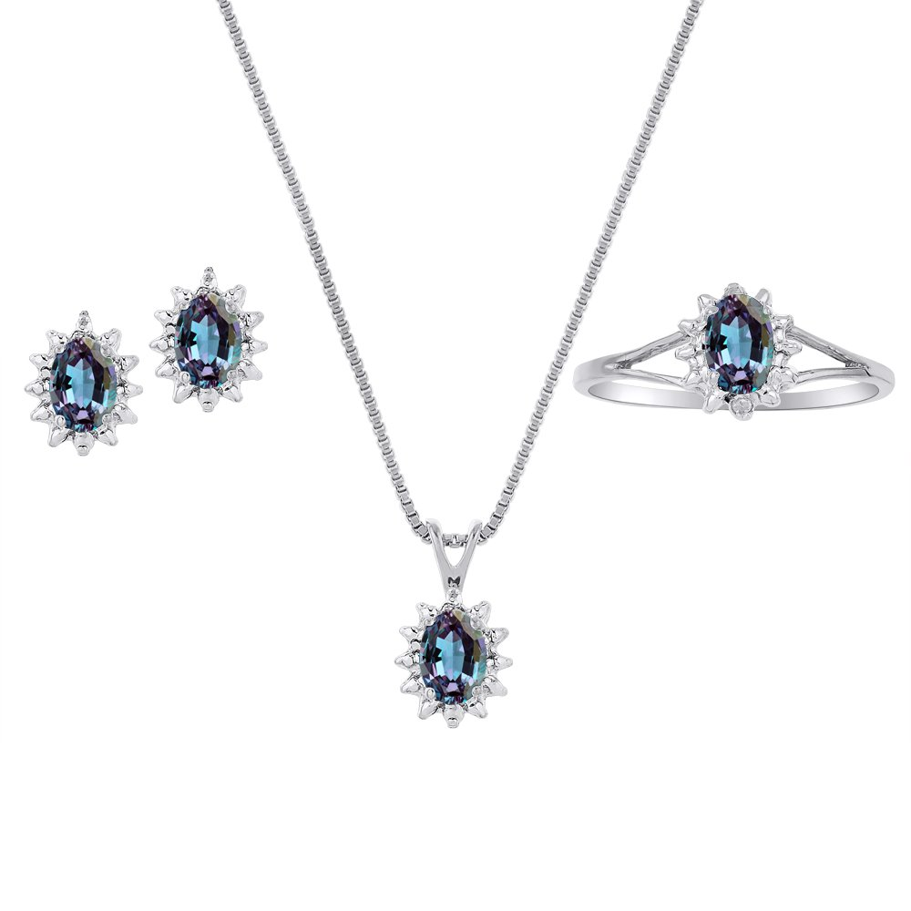 Simulated Alexandrite & Diamond Pendant, Earrings & Ring Set in Sterling Silver .925 with Chain and Gift Box