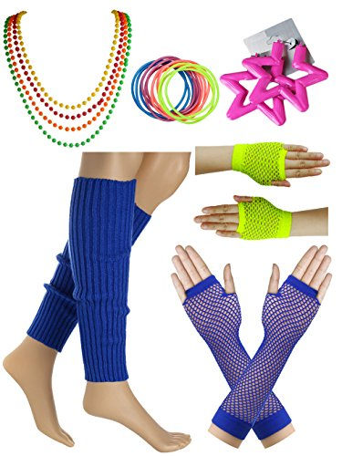 Jiuytok Women's 80s Outfit Accessories Leg Warmers Gloves Theme Party Supplie