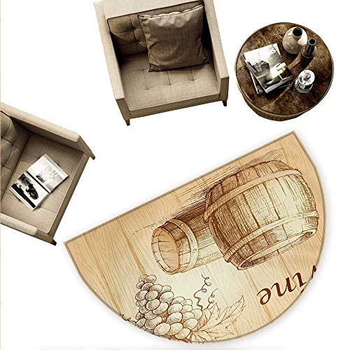 """Wine Semicircular Cushion Wooden Barrels and Bunch of Grapes on Wood Backdrop Botany Harvest Theme Artwork Entry Door Mat H 78.7"""" xD 118.1"""" Brown Peach"""