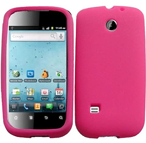 Hot Pink Silicone Jelly Skin Case Cover for Straighttalk Huawei Ascend 2 II M865C (Huawei Ascend Ii M865c)