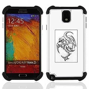 """SAMSUNG Galaxy Note 3 III / N9000 / N9005 - 3 en 1 impreso colorido de Altas Prestaciones PC Funda chaqueta Negro cubierta gel silicona suave (Monster Tattoo Art Poster Spooky"""")"""