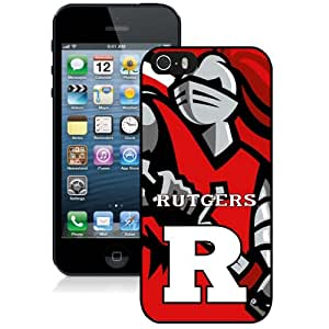 Fashionable And Unique Custom Designed With NCAA American Athletic Conference AAC Football Rutgers Scarlet Knights 1 Protective Cell Phone Hardshell Cover Case For iPhone 5S Phone Case Black