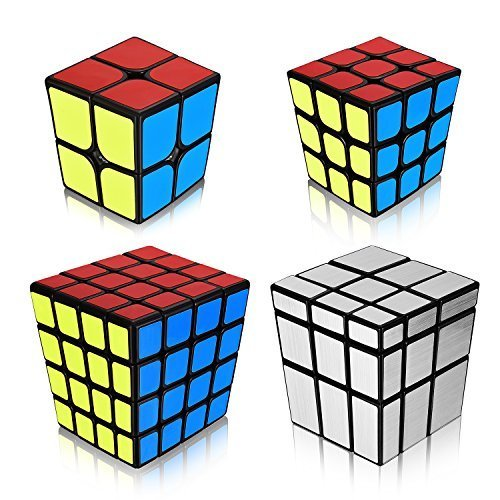 Ganowo Speed Cube Puzzle 2x2 3x3 4x4 Mirror | Smooth Magic Cube Set of 4 Pieces | Toy Bundle Pack | Brain Teaser Puzzle Gift Collection for Kids | PVC Sticker | Black