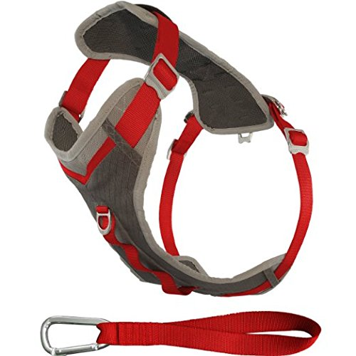Kurgo Journey Multi-Use Dog Harness, Reflective Harness, Dog Running Harness, Dog Walking Harness, Dog Hiking Harness, Red/Grey, Large
