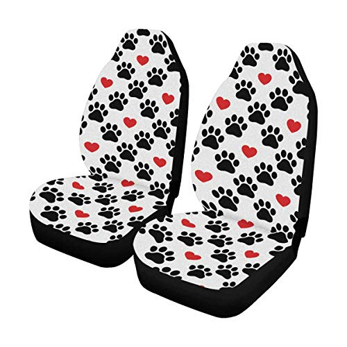 INTERESTPRINT Custom Dog Paw Red Heart Car Seat Covers for Front of 2,Vehicle Seat Protector Fit Most Car,Truck,SUV,Van ()