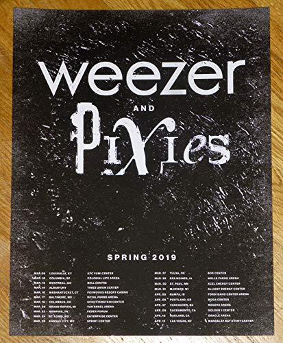 Weezer Pixies Framed Poster Spring 2019 Live Tour Promo Print (Unframed - Print Only)