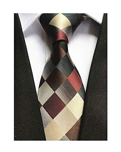 Classic Designer Plaid Ties Checks Brwon Grey Necktie Holiday Gifts for Men Boys