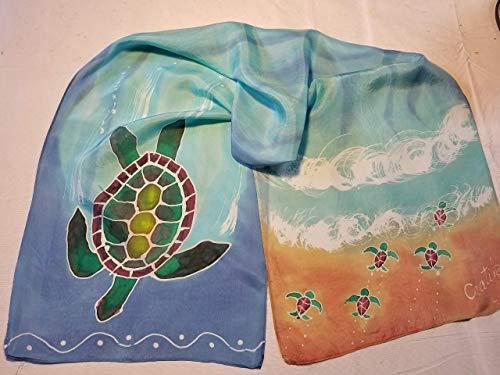 Sea Turtle Hand-Dyed Batik Silk Scarf