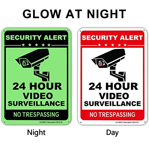 "Video Surveillance Sign - [UPGRADED 2018] 24 Hour CCTV Security Signs, Aluminum No Trespassing Signs for Home Security Glow-in-the-dark(40Mil,10"" X 14"")"