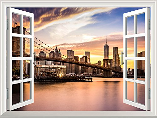 Peel and Stick Wallpapaer Collage Removable Large Wall Mural Creative Wall Decal ( Brooklyn Bridge)