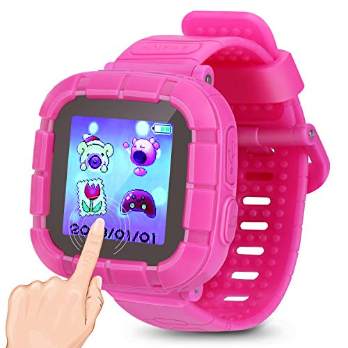 (Kids Smart Watch Games Smartwatch Touch Screen Watches with Camera Timer Clock Pedometer for Kids Boys Girls Toys Holiday Birthday Gifts. (Pink))