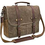 Mens Messenger Bag 15.6 Inch Waterproof Vintage Genuine Leather Waxed Canvas Briefcase Large