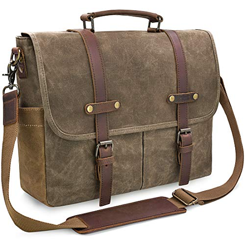 Laptop Padded Messenger - Mens Messenger Bag 15.6 Inch Waterproof Vintage Genuine Leather Waxed Canvas Briefcase Large Satchel Shoulder Bag Rugged Leather Computer Laptop Bag, Khaki