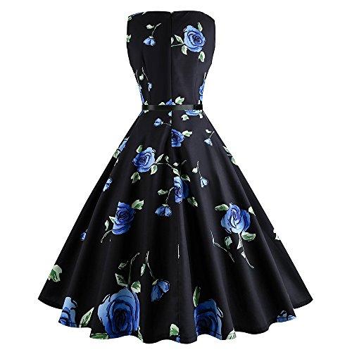 Abiti da sera Donna Vestiti fiori Eleganti e Vintage Stampato floreale Gonna a sbuffo a vita alta Girocollo senza maniche Ragazze e Donne