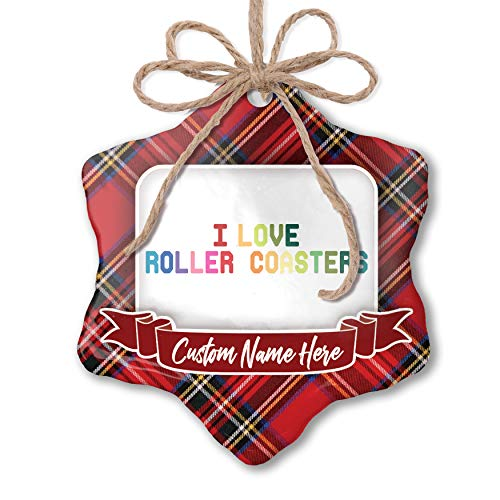 (NEONBLOND Customizable Ornament I Love Roller Coasters,Colorful add Your own Text!)