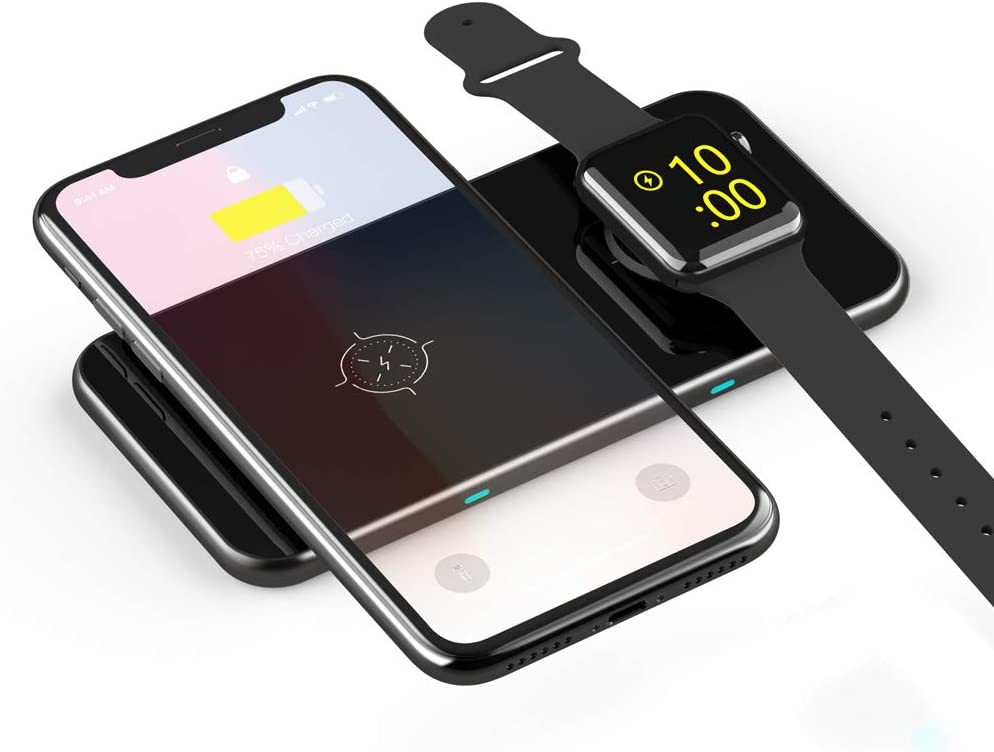 Leanking 3 in 1 Wireless Charger, 10W Max Qi-Certified Fast Charging for Apple Watch, iWatch,AirPods, iPhone 11 Pro Max/X/XS/XR/8Plus,Galaxy S20 S10 S9 S8, Note 10 9 8