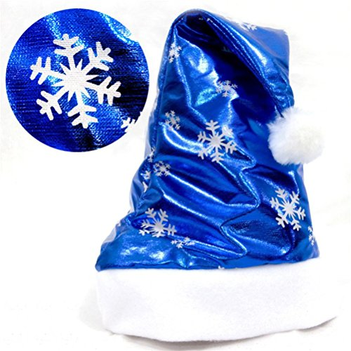 ELaco Christmas Party Santa Hat Blue And White Cap for Santa Claus Costume New (D)
