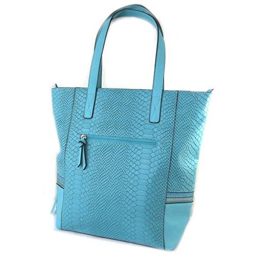 "Francinel [N6506] - Sac créateur ""Romy"" turquoise - 39. 5x34. 5x12 cm"
