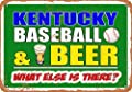 Wall-Color 10 x 14 Metal Sign - Kentucky Baseball and Beer - Vintage Look