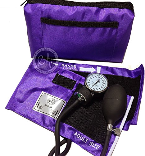 EMI Purple Deluxe Professional Aneroid Sphygmomanometer Manual Blood Pressure Monitor Set with Adult Cuff and Carrying Case #217