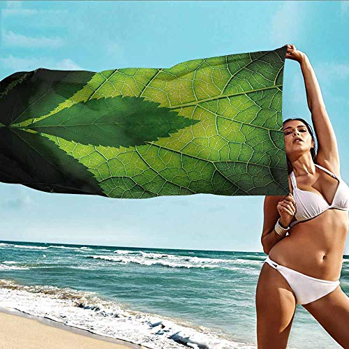 Antonia Reed Printing Bath Towels Green,Nature Forest Big Amazon Brazilian Tree Leaf with Vein and Sunbeams Image,Olive and Dark Green,for Beach Trips,Pool,Swimming and Camping 28