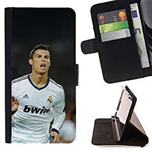 For LG OPTIMUS L90 Soccer Ronaldo Leather Foilo Wallet Cover Case with Magnetic Closure