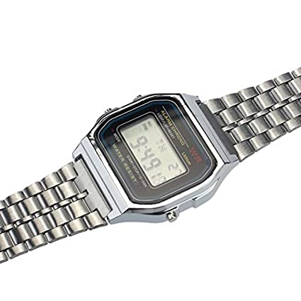 Amazon.com: Classic Retro Digital Watch for Men Women Unisex Stainless Steel Alarm Stopwatch ~ Reloj Digital Clásico de Mujer y Hombre (Silver): Cell Phones ...
