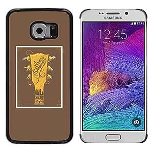 Be Good Phone Accessory // Dura Cáscara cubierta Protectora Caso Carcasa Funda de Protección para Samsung Galaxy S6 EDGE SM-G925 // Guitar Golden Brown Poster Music Rock