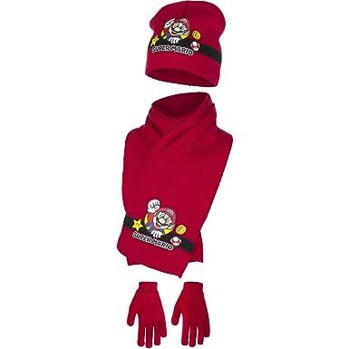 98b4fd1efec64 Super Mario 3Pcs Hat Scarf and Gloves Set Red 54cm