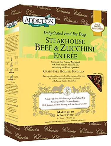 Addiction Raw Dehydrated Grain-Free Dog Food, Steakhouse Beef & Zucchini, 2lbs by Addiction Pet Foods