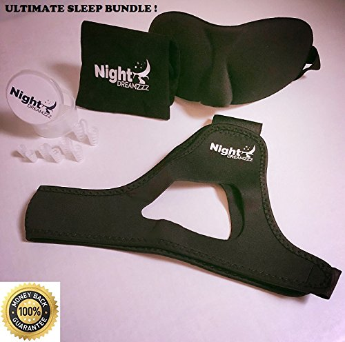 Premium Upgraded Anti Snoring Chin Strap and Nose Vents with Free Bonus Silk Eye Mask - The Ultimate Anti Snore Solution for Men, Women & Kids- Adjustable Sleep Aid Bundle by Night Dreamzzz (Image #1)