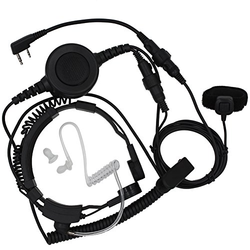 Tenq Military Grade Tactical Throat Mic Headset/earpiece with Big Finger PTT for Baofeng Radios Walkie Talkie 2 Pin Jack