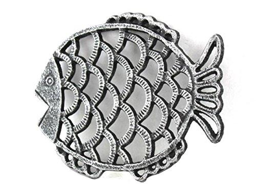 Antique Silver Cast Iron Big Fish Trivet 8 Inch - Sea Decoration - Coastal Living