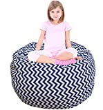 Cheap Kids Bean Bag | Large Bean Bag | Toy Storage | Children's Chair Cover | Soft Toy Bag | Kids Toys Organizer | Bean Bag Cover | Comfy Chair Comfortable Seating for Kids Blue Wave Stripes
