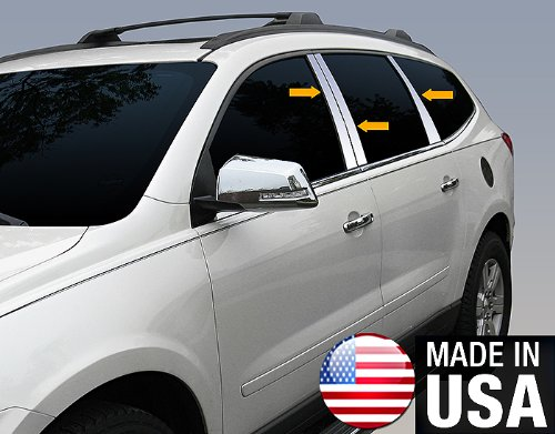 Made in USA! Works with 2009-2017 Chevrolet Traverse 6PC Stainless Steel Pillar Post Trim