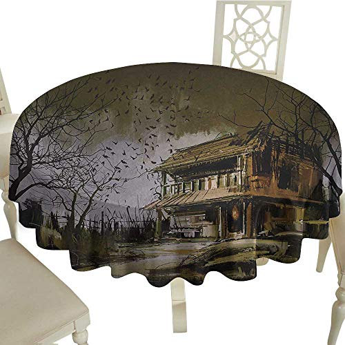 (Cranekey The Restaurant Round Tablecloth 60 Inch Rustic,Old Haunted Abandoned Wood House at The Dark Night with Bats Scary Horror Paint,Multicolor Suitable for Home Coffee Bar,Party,Wedding,& More)