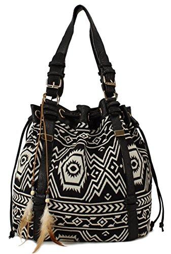Scarleton Striped Pattern Jacquard Drawstring Bag H15670102 - Black/Off White (Collection Drawstring Hobo)