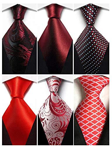 (Wehug Lot 6 PCS Men's Classic Valentine Ties Silk Red Tie Woven Necktie Jacquard Neck Ties For Men style025)