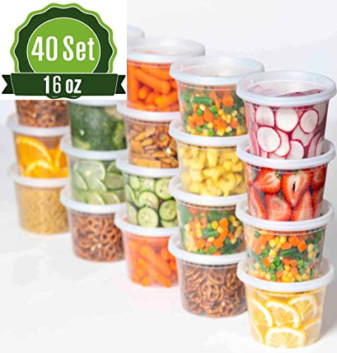 Plastic Food Storage Containers with Lids - 40 Pack Lunch Deli Slime Small Round Clear Soup, Food Saver Container [ BPA Free, Reusable or Disposable, Dishwasher, Microwave & Freezer Safe] (16oz)