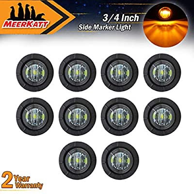 Meerkatt (Pack of 10) 3/4 Inch Miniature Round Smoked Lens Amber LED Bullet Side Marker Clearance Lamp SMD Indicator Light Waterproof Bus Jeep Ferry Boat Caravan Truck Trailer Pickup Grommets 12V DC: Automotive
