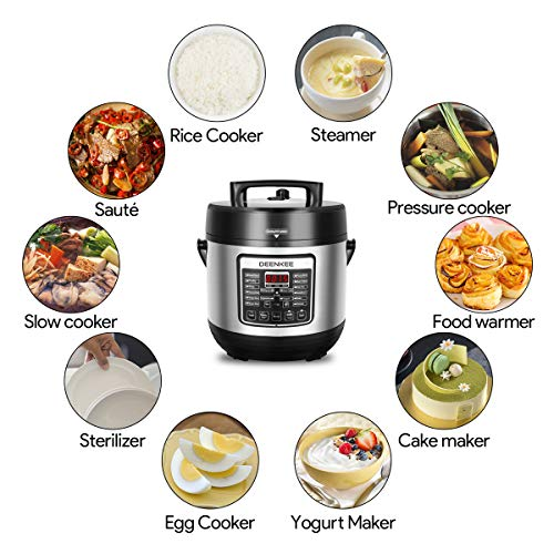 DEENKEE 10-in-1 Multi-Function Pressure Cooker 6 Quart, Instant Programmable for Rice Cooker, Steamer, Egg Cooker, Slow Cooker, Yogurt Maker, Hot Pot, Mom Christmas Gifts in 2-Year Warranty