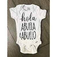 Hello Happy Baby Hola Abuela and Abuelo Onesie Pregnancy Announcement