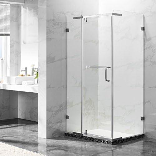 deluxes 192201 cabinas de ducha 100 x 80 x 195 cm, para esquina de ducha, 8 mm Cristal de Seguridad con puerta abatible, mezcla de acero inoxidable de perfil, sin plato de
