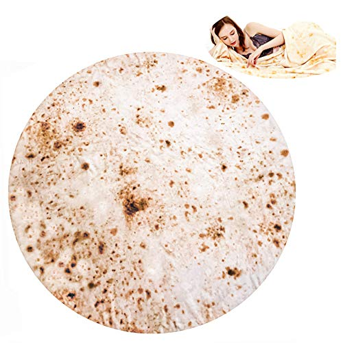 RAINBEAN Burritos Tortilla Blanket 60Inch/5Ft, Soft and Comfortable Giant Round Beach Blanket for Adults, Food Creations Perfect Round Burrito Wrap Blanket ()